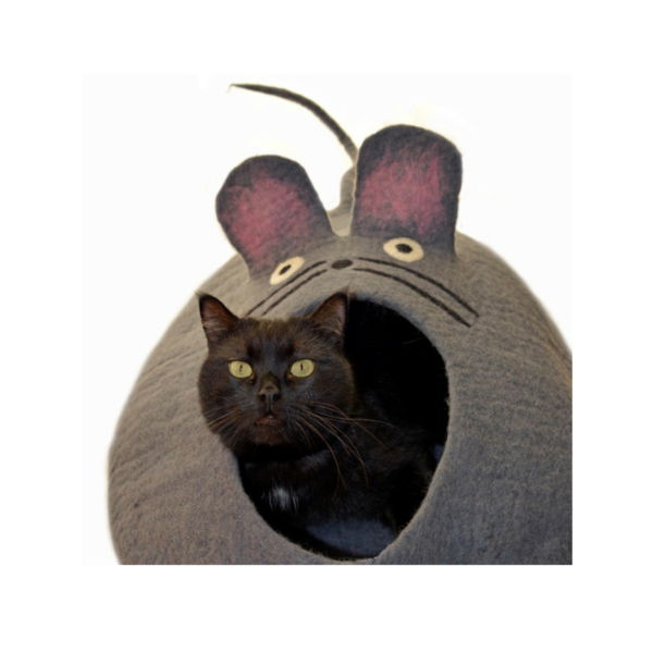 Photo of felted wool mouse cat cave